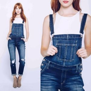 CAYMIELYNN Distressed Long Overalls